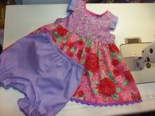 Summer Flowers Roses  Pink/Lilac Bloomer Dress Set Size 12mo-18mo  Ready to ship