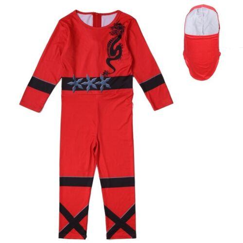 UK Kids Boys Ninja Cosplay Costume Ninjago Fancy Halloween Party Jumpsuit Outfit