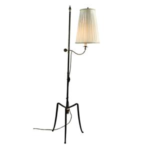 Steh-Lampe-Schmiedeeisen-amp-Messing-Vereinigte-Werkstaetten-Boden-Leuchte-50er