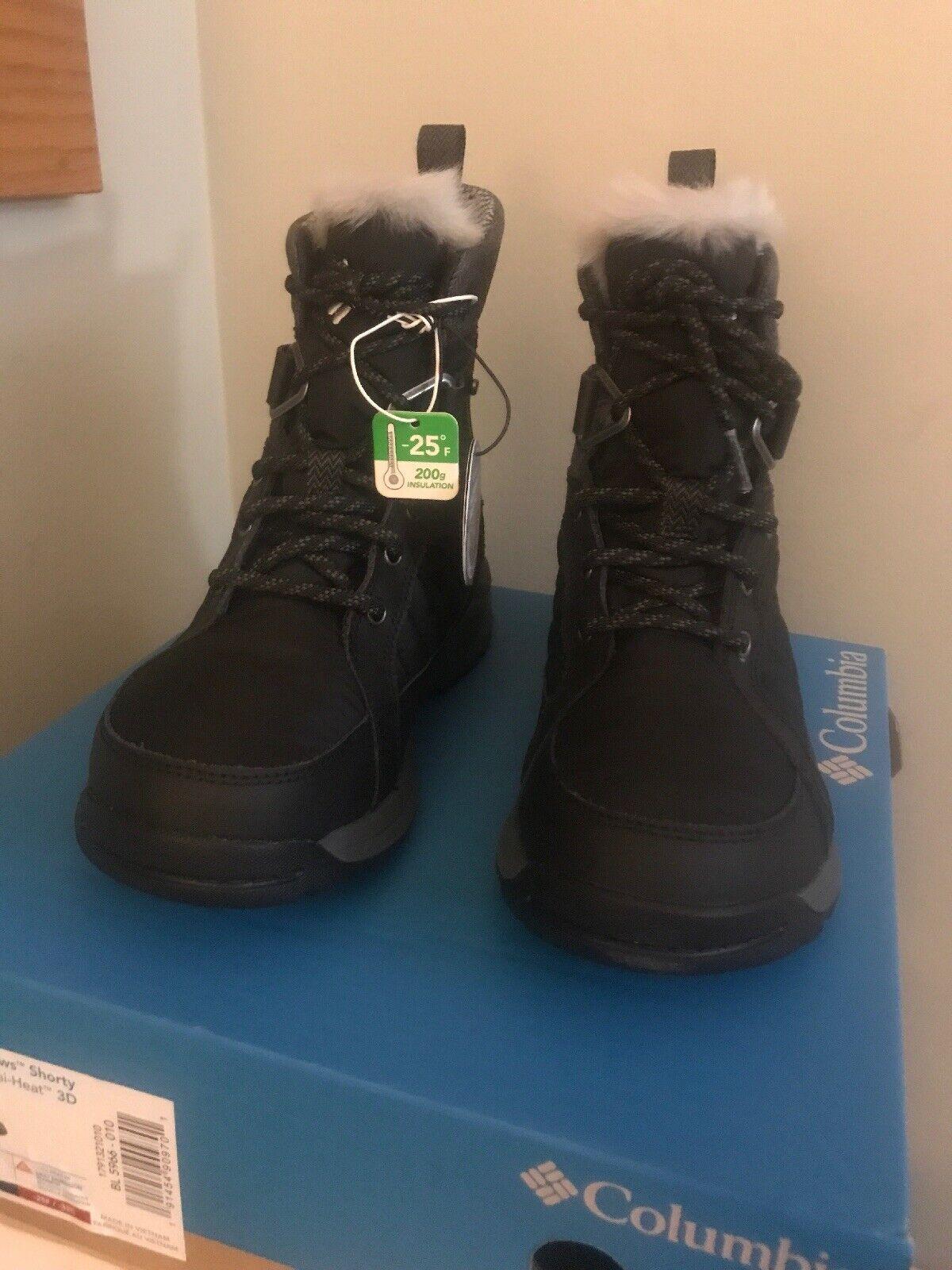 NIB Columbia Women's Meadows Shorty Omni-Heat 3D Mid Calf Boot, Black, Steam 7.5