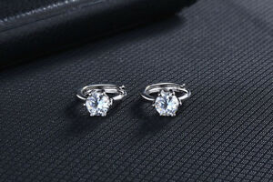 Shiny-925-Sterling-Silver-PL-6mm-Cubic-Zirconia-CZ-Huggie-Loop-Hoop-Earrings