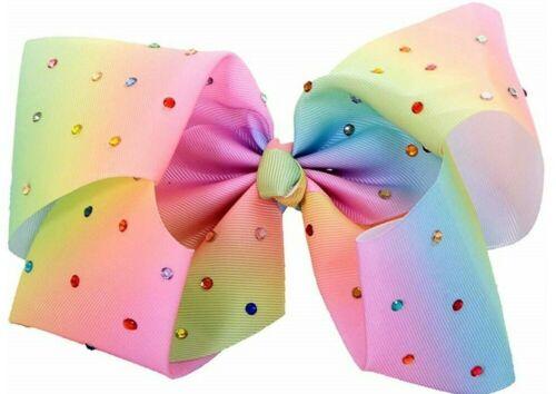 "8/"" 6/"" inch LARGE Allover Crystal Rhinestone PASTEL RAINBOW Ribbon Hair Bow Clip"