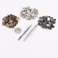 Bouton pression metal 10pcs noir + 10 pcs bronzé 10 + argenté 15mm + outil 3 pcs