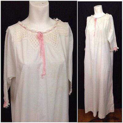 Antique 1900s 1910s Edwardian White Long Cotton Pink Crochet Nightgown XL