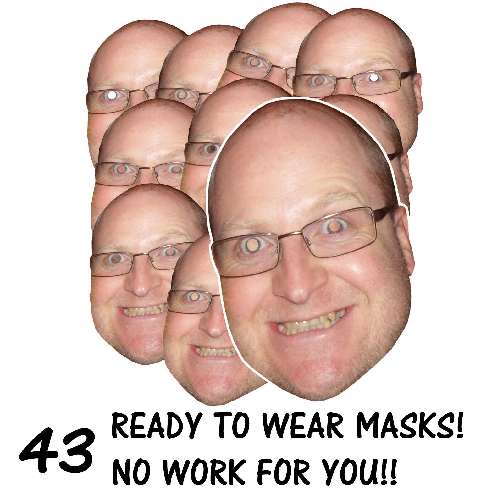 43 x PERSONALISED FUN FACE MASKS - STAG HEN PARTY - SEND US YOUR PIC - FREE P&P