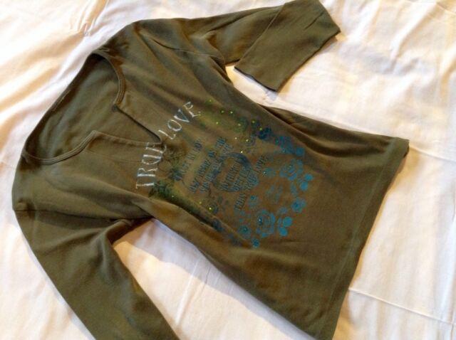 Damen-Shirt mit Glitzersteinen, Gr. M, Kaki