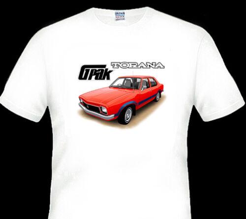 1976  HOLDEN  LX  G PAK  TORANA  QUALITY WHITE TSHIRT 3 CAR COLOURS BIG FIT