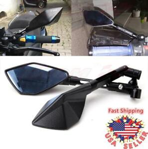 Black Universal CNC Motorcycle Rearview Side Mirrors M10 M8 For Honda Suzuki BMW