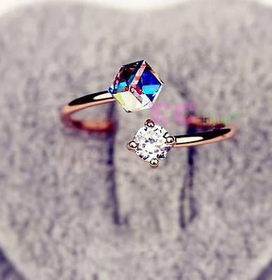 free size 18k rose gold fill Swarovski Crystal Love Cube Diamond ring R95