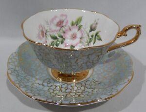 Royal-Albert-WILD-PINK-ROSE-CUP-amp-SAUCER-Lustre-Blue-Color-Gold-Floral-Filigree