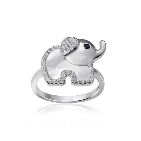 Genial Materia Perlmutt Ring Elefant Silber 925 - Zirkonia Ring Glücksbringer + Box Einfach Zu Schmieren