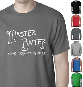 Men-039-s-Funny-T-Shirts-Singlet-Master-Baiter-Fishing-bait-tee-mens-t-shirt-Aussie