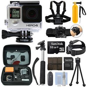 GoPro HERO4 Black Waterproof 4K Camera Camcorder + 32GB Action Bundle