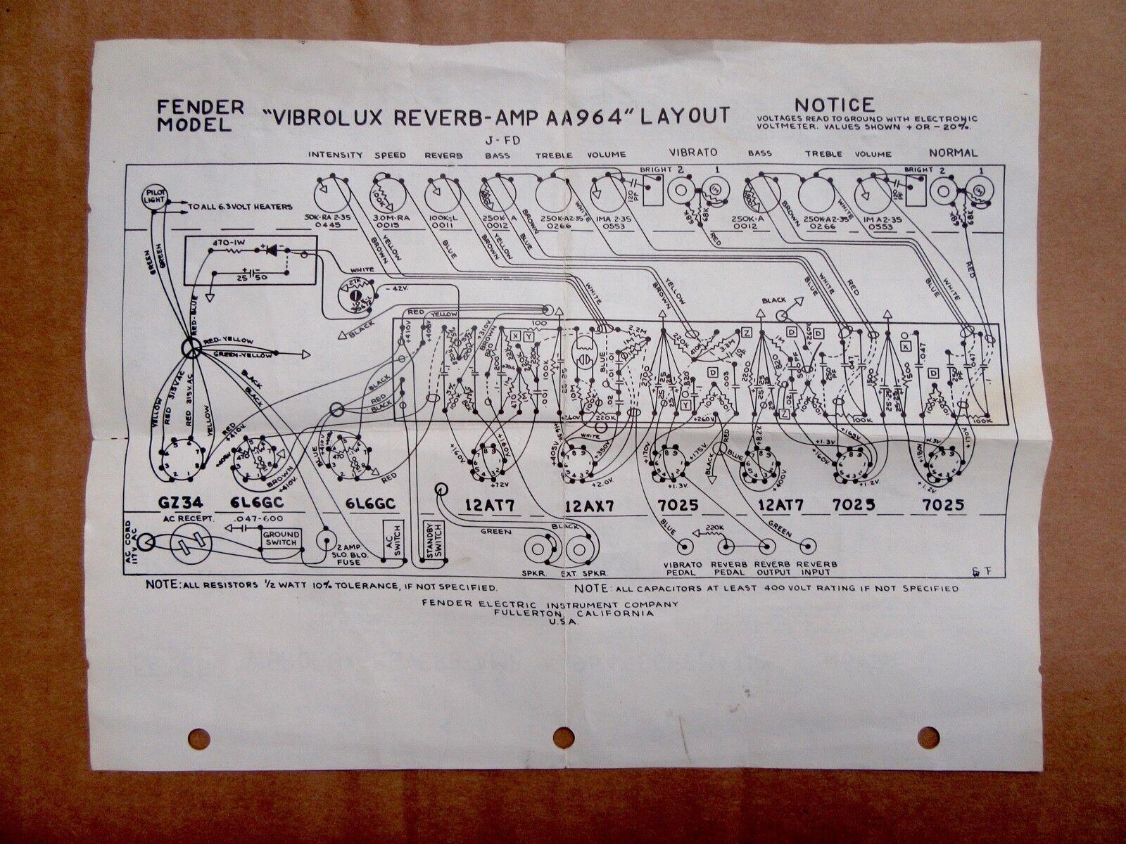 1963 - 1968 Fender Vibrolux Reverb AA964 Schematic