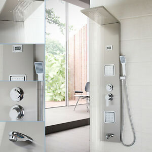 Details About Bathroom Brushed Nickel Mage Hand Jets Shower Panel Spray Faucet Set