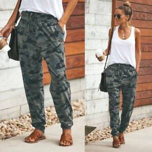 professional website really comfortable info for Details about Women's Camouflage Print Casual Long Pants Ladies Loose Sport  Lace-up Trouser