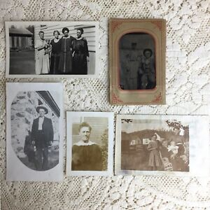 Antique Photos Tintype Husband Wife Mother Family Children Death ID Franklin LOT