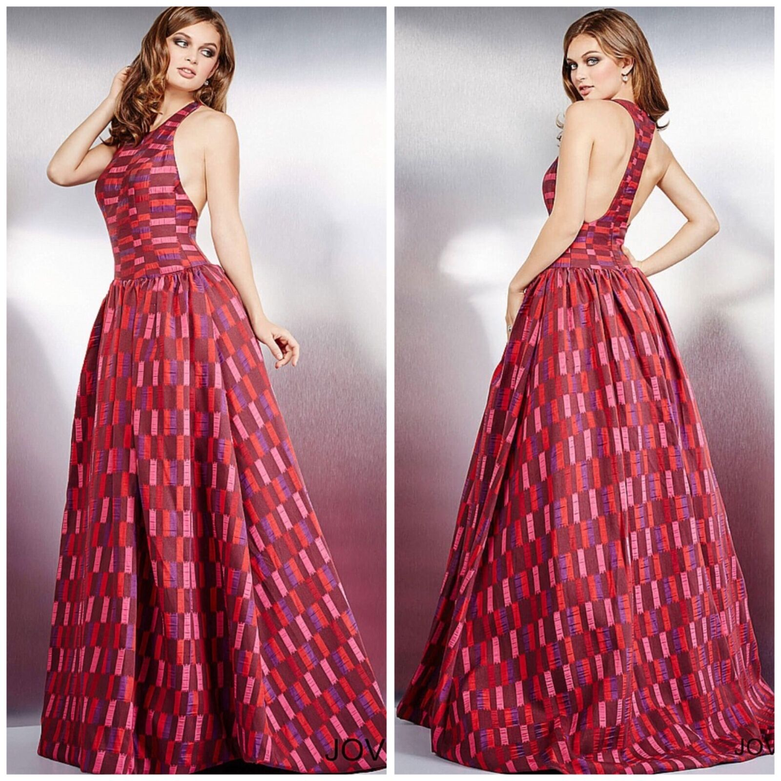 JOVANI 28675 RATRO PRINTED  BALL GOWN RUNAY PAGENT  SZ 0,2,4,6, AUTENTIC