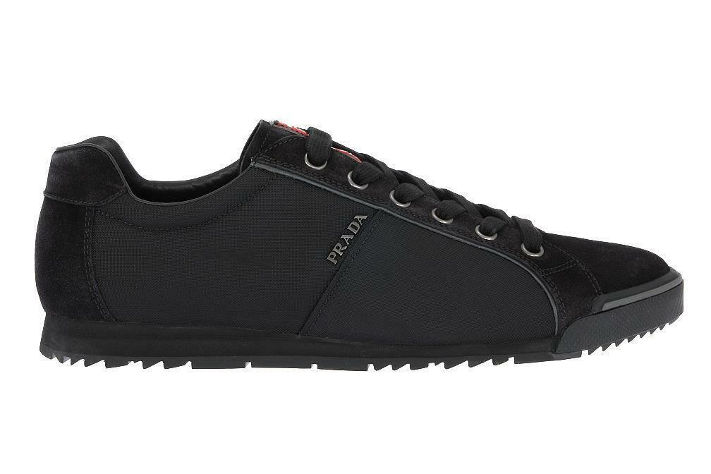 43b548e924 NEW PRADA MEN'S BLACK TESSUTO SUEDE BLACK LOGO SNEAKERS SHOES 11.5 US 12.5