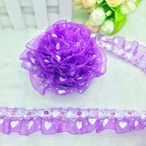 New-5-yards-2-Layer-30mm-Purple-Organza-Lace-Gathered-Pleated-Sequined-Trim-A-23