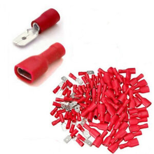 50-100pcs-Fully-Female-amp-Male-Spade-Terminals-Crimp-Connector-Red-22-16AWG