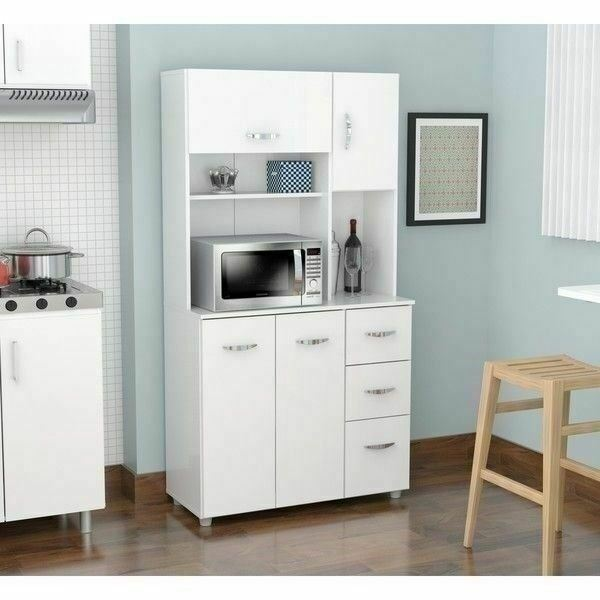 Tall 71 Kitchen Pantry Hutch Storage Microwave Cabinet Server Wood White Gray For Sale Online Ebay