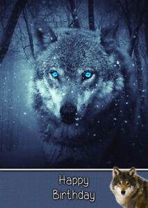 Image Is Loading Wolf Wild Animal Birthday Card Free Delivery
