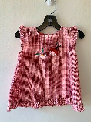 White Gingham Picknicker Dress 24m 2t Baby Toddler Girls Size 6m 12m 1t 3t. Red Vintage Inspired Pink