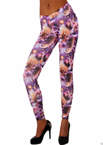 LADIES PINK PLANETS LEGGINGS TROUSERS STRETCHY SHINY PRINT JEGGINGS 8 10