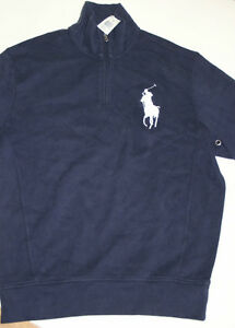 Zip Sweater Polo Ribbed Soft Navy Pony Big Blue Lauren Cotton Ralph Half M BPqwa6t6