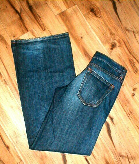 DKNY SAMPLE WIDE LEG DISTRESSED BUTTON FLY DENIM blueE JEANS SIZE 34 X 35 NEW