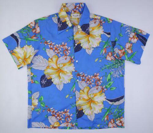 Vintage Hawaii jaren Hawaiian shirt Nei met bloemen poly blauw 1970 2xl Fc1J3TlK