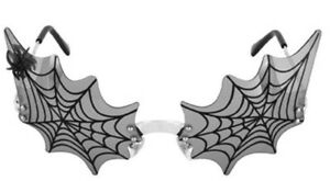 Sunglasses-WICKED-WEB-w-SPIDER-CHARM-Halloween-Costume-Accessory-Black-Silver