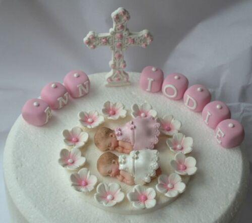 Large Comestible Cross Comestible jumeaux Bébé Filles Baptême Baptême cake topper