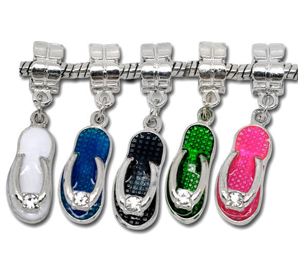 10Mixed Enamel Slippers Dangle Beads Fit Charm Bracelet