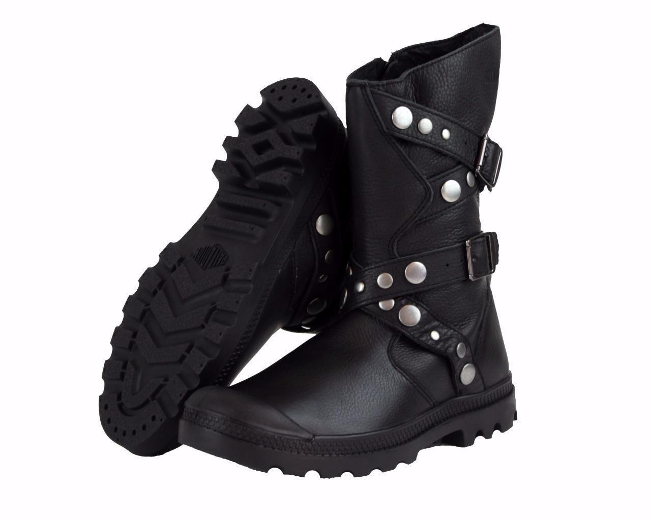 New Women's Palladium Polegate Leather Boots US Size 6-11 Black 93264-001