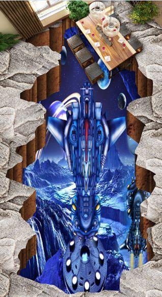 3D space fly plane 136 Floor WallPaper Murals Wall Print Decal 5D AJ WALLPAPER