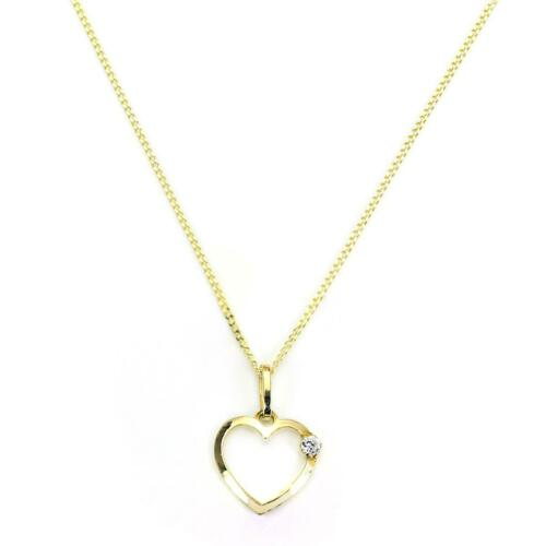Necklace Pendants 9ct Gold Light Open Heart with CZ Crystal Pendant Chain