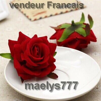 Aspirante Tête De Rose Fleur Artificielle Décoration Mariage Gâteau Art Floral 10pcs Rouge