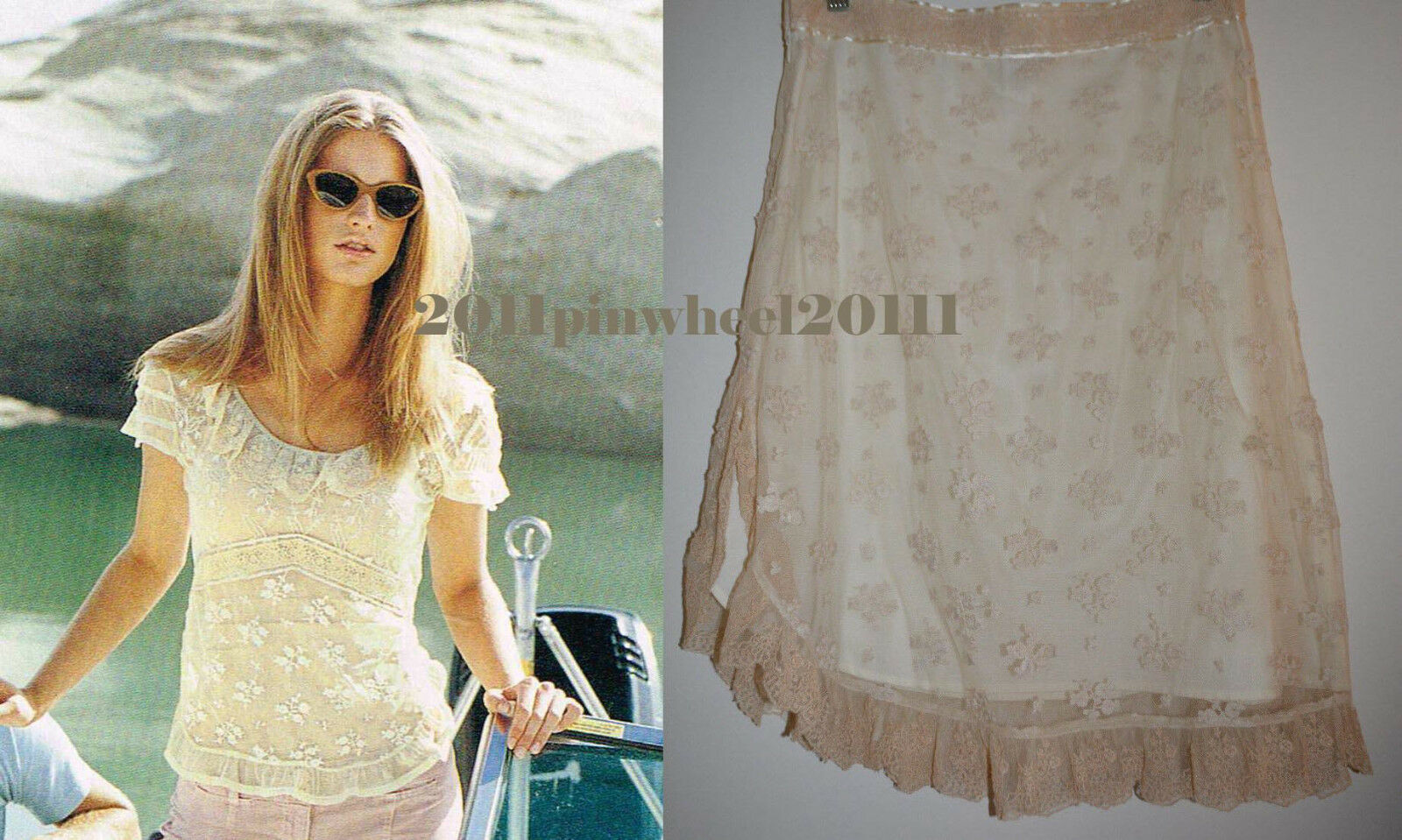 4 Anthropologie Delicate Floral Lace Overlay  Tuolumme Lace Skirt