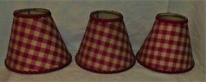 LOT-DE-3-ANCIENS-ABATS-JOUR-A-PINCE-TISSUS-VICHY-ROUGE-CHAPEAU-DE-LAMPE-LUSTRE