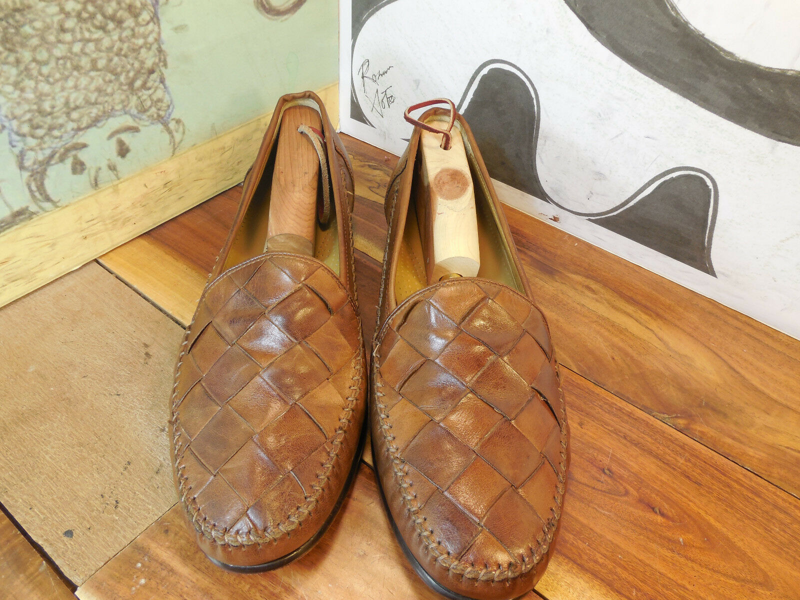 Cole Haan Brown Leather Basket Weave Loafers in Men's 9M #C09067 Made in Loafers India 927d75