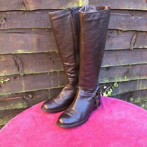 Ladies-Kurt-Geiger-Carvela-Brown-Tan-Flat-Leather-Knee-Length-Boots-Size-5-38