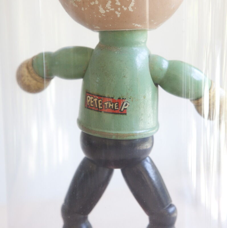 PETE THE PUP - Cartoon Character Character Character Doll, 1930's Wood Paint Faded Glass Dome  as-is 4ea2ea