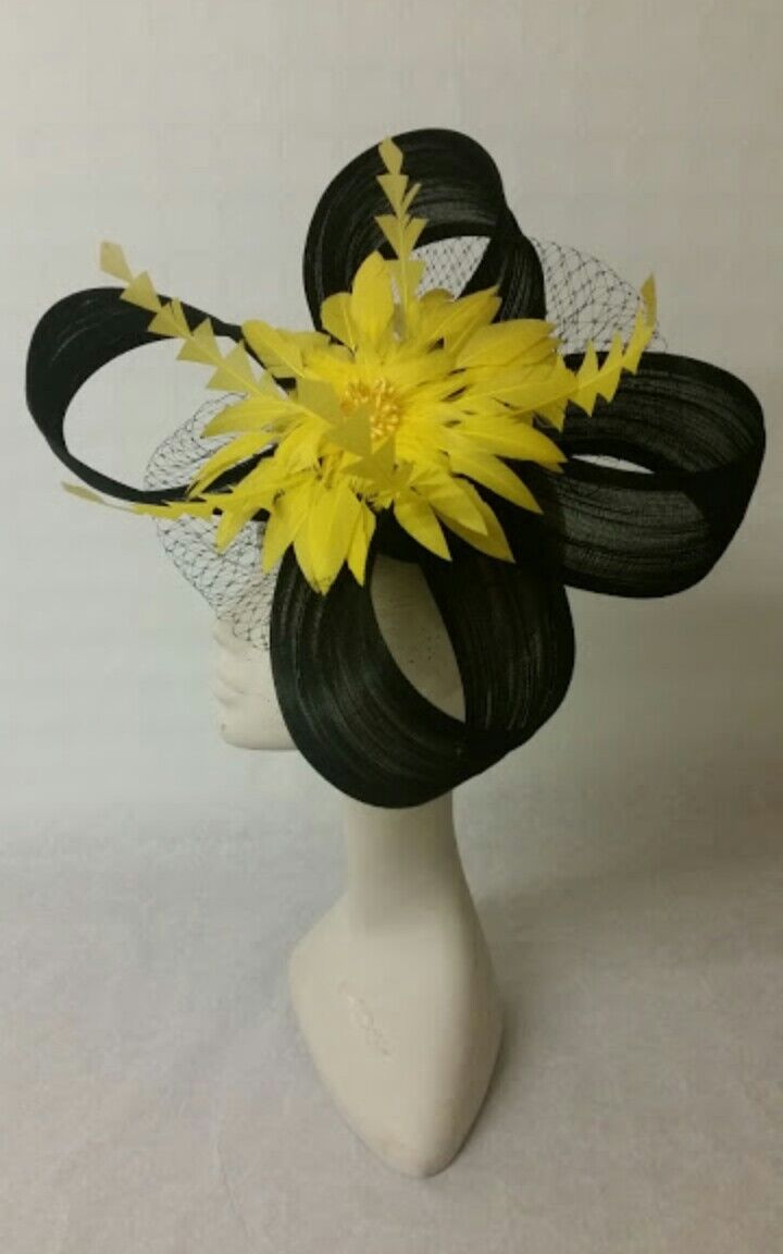 Ladies black and yellow fascinator Ascot races wedding made to order