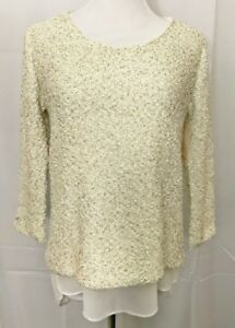 Zara-Sequin-Knit-Sweater-Chiffon-Lagenlook-3-4-Sleeve-Ivory-Cream-Top-sz-Medium