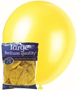 PACK-25-YELLOW-LATEX-METEOR-DECORATOR-BALLOONS-PARTY-HANGING-DECORATIONS-28CM