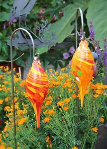 Glas zapfen h ngend mundgeblasen 23700 neu gartendeko gartenstecker ebay - Glas gartendeko ...