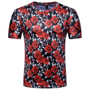 MEN-039-S-Rose-Flowers-Floral-Short-Sleeve-Casual-T-Shirt-Tops-Tee-Shirts-Pullover