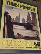 "RARE Uncirculated TUNIS PONSEN 22"" x 28"" CHICAGO Poster ART Drake Hotel 1938 WOW"
